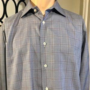 David Donahue Trim-Fit Glen Plaid Shirt